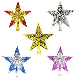 Decoraciones de estrellas de plástico online-2018 Nuevo Ornamento de Árbol de Navidad de Plástico Estrella Santa Navidad Decoraciones 5 Colores Rojo Oro Plata Rojo Azul Decoraciones de Navidad CPA1070