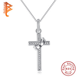 Wholesale Cross Gift Box - BELAWANG 925 Sterling Silver Cross Shape Necklaces&Pendants With Clear CZ Box Chain Necklace Fashion Women Valentine's Jewelry Gift 45cm