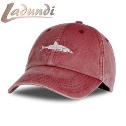 Wholesale Wholesale Shark Baseball Caps - Wholesale- 2017 Top Fashion Washed Baseball Cap Men Pink Shark Embroidery Dad Hat For Women Gorras Planas Snapback Bosco