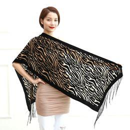 Wholesale Hot Wife Women - Wholesale- 2015 New Hot Black Zebra Print Scarves Women Burnout Velvet Shawl Female Spring Winter Lovers Gift For Mom Wife Free Shipping