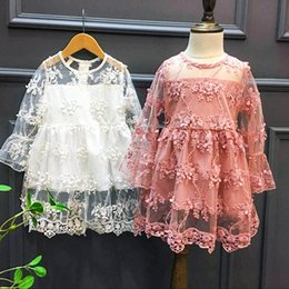 Wholesale Dress Kids Clothing Embroidery - 2017 new Fashion lace Princess Dresses Infant Toddler Clothes kids Clothing Baby Gift Children embroidery Flower Party Tulle Dress A313