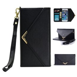 Wholesale Envelope Wallet For Iphone - Vintage Envelope Flip Leather Wallet Case Credit Card ID Holders With Wrist Strap for Samsung Galaxy S8 S8 plus iphone 7 8 Plus 6 6s