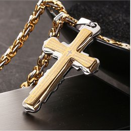 Wholesale Steel Cross Necklaces - European and American new fine hot style jewelry bible verses gold double-cross titanium steel pendant necklace