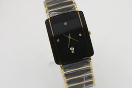 Wholesale Ceramic Black Dial Men - Luxury top designer brand golden square watches two tone high quality date ceramic black dial watches men dress watches free shipping