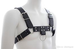 Wholesale Mens Sex Costumes - Male slave garment Sex Bondage PU Leather Mens Heavy Duty Chest Harness Half Body Restraint Macho Play Costume