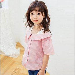 Wholesale Breast Dolls - Kids shirts 2017 summer new girls stripe dew shoulder doll shirt children lapel single breasted short sleeve blouses kid's clothes T2942