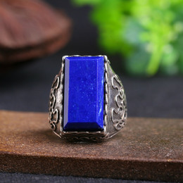 Wholesale Lapis Stone Ring - Semi-precious Stone Lapis Lazuli Ring Antique Silver Color Fashion Brand Vintage Jewelry Rings For Men Women