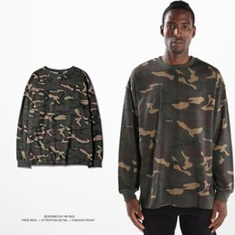 Wholesale Military Shirts Women - Do the old Camo T-shirt Long sleeved Crewneck Tee HEYBIG hip hop tops American Fashion hot Military clothing Army style CN SIZE