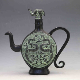 Wholesale Bronze Teapot - Collection Folk Art Chinese Bronze Hand-carved Double Drgon Teapot& Elephant Lid