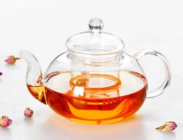 Wholesale New Leaf Tea - 1PC New Practical Resistant Bottle Cup Glass Teapot with Infuser Tea Leaf Herbal Coffee 400ML J1010-1