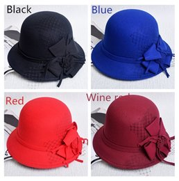 Wholesale Fitted Winter Dresses - Fashion Designer Elegant Fedoras Derby Hat With Flower For Women Dress Church Hats Ladies Formal Wedding Head Piece Honey Fishing Bucket Cap