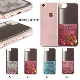 "Wholesale Iphone Covers Nail Polish - Nail Polish Perfume Bottle Gliiter Qicksand hard Cell Phone Case For iPhone 7 7Plus 6Plus 6 6s Plus 4.7"" plastic Cover Liquid"