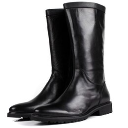 Wholesale Knee High Mens Black Boots - Fashion Black   White Knee High Mens Boots Genuine Leather Flats Mens Winter Boots Round Toe Man Motorcycle Boots