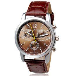 Wholesale Wholesale Watch Batteries - Wholesale- Watch Men Relogio Masculino Fashion watch men Faux Leather Men Analog Quartz Watches Hot men's watch Montre Homme Clock Sanwony