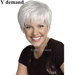 Wholesale Short Sexy Wig - Sexy Pixie Cut Hair Short Fashion Straight White Wig Synthetic Full Afro Wigs For Black Women In Stock