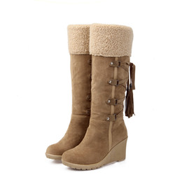 Wholesale Boots Scrub - new Winter Women Snow Boots 7cm High Heels Fashion Scrub Wedges Knee-high Plush Boots Thermal Female Warm Shoes