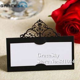 Wholesale Paper Holiday Cards - 50pcs lot Free Shipping New Wedding Laser Cutting Crwon Design Paper Place Seat Name Invitation Card for Weddding Birthday Party Table Decor