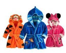 Wholesale Boys Robe New - Wholesale- 2016 New Baby Girls Boys Meninas Meninos with Hood Cartoon Pajamas Cartoon Mouse Robe kids Soft Robes