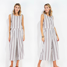 Wholesale Linen Clothes Wholesale - Women Two Pieces Clothes Sleeveless Blouse Round Collar Stripes Of Two Sets Of Women Trousers Casual Crop Top