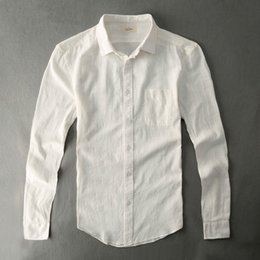 Wholesale Tailor Wholesale Clothing - Wholesale- Cotton Linen Shirt Casual Men White Shirt With Long Sleeves Boy Plain Solid Stylish Tailored Blue Clothes