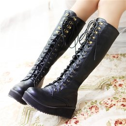 Wholesale Lace Up Punk High Platform - Wholesale- 2015 Brand New Designer Womens Flat Riding Motorcycle Heel Knee High Boots Punk Gothic Platform Lace Up Creeper Shoes Plus Size