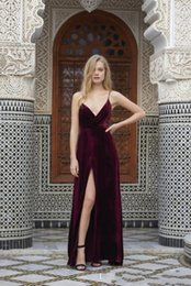 Wholesale Straps Party - 2017 Spaghetti Straps Sexy Velvet Formal evening Dresses Sleeveless Criss Cross Backless Prom Party Gowns with High Split Floor Length