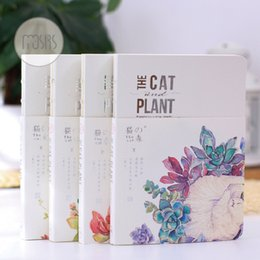 Wholesale Japanese Notebook Wholesale - Wholesale- MOUSRS Hand-painted Cat Plant A5 Planner Binder Ivory Board Cute Notebook Diary Hard Copybook Note Book Japanese Stationary