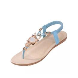 Wholesale Ladies Beaded Shoes Black - Hot Sale 2017 New Fashion Women Sandals Beaded Ladies Flip Flops Bohemia Woman Shoes Comfort Beach Summer Flat Sandals