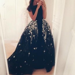 Wholesale Ship Boat Model - Boat Neck Prom Dress Long Mermaid Evening Dress Black Evening Formal Dresses for Women Illusion Free Shipping Evening Party Dresses
