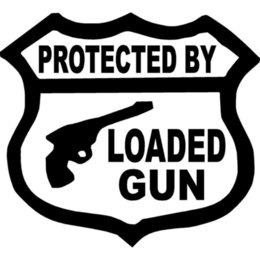 Wholesale Bullet Target - 15.5X14CM PROTECTED BY LOADED GUN AMMO BULLET RIFLE TARGET DEAD Originality Vinyl Decal Car Sticker
