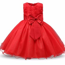 Wholesale Cotton Wedding Flowers - Baby Girls Dress Party Lace Dress Kids 9 colors 3D Rose Flower Dresses Children Clothes Girls Wedding Party Princess Dresses