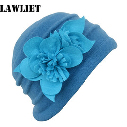 Wholesale Wool Felt Flowers Wholesale - Wholesale-A123 Blue Winter Felt Flower trimmed Womens Warmer Wool Beanie Cap Dress Crochet Hat wholesale