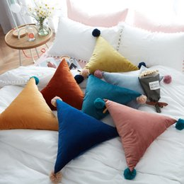 Wholesale Large Sized Cushions - Solid Color Triangle Pillows Cushion Big Large Size 50cm Decorative Pillow for Sofa Bed Car Home Decoration