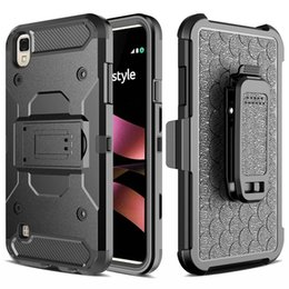 Wholesale Hard Holster - Clip Belt Stand Armor Hybrid Hard Case For LG X Style Tribute HD LS676 MOTO G4 Plus Shockproof Cover Silicon Swivel Holster Camo Phone 1pcs