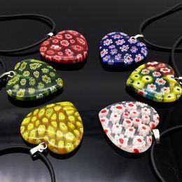 Moda 6PCS Mix Colore Cuore Millefiori Pendenti in vetro murano con cavo da ciondolo murano millefiori fornitori