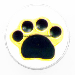 Wholesale Black Paw Charm - fashion Black yellow PAWS 18 mm glass print ginger snap button jewelry luxurious alloy bottom fit 18 mm snaps bracelets best gifts
