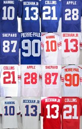 Wholesale Apple 13 - 10 Eli Manning 13 Odell Beckham Jr 21 Landon Collins 28 Eli Apple 87 Sterling Shepard 90 Jason Pierre-Paul Jersey Accept Mix Orders