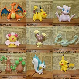 Wholesale Wholesale Pokemon Action Figures - Poke Figures Toys 4-5cm Pikachu Charizard Eevee Bulbasaur Suicune PVC Mini Model Toys For Children Action figures In stock LC584