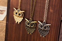 Wholesale Vintage Antique Silver Long Chains - Vintage Women Owl Pendant Neclace Long Sweater Chain Jewelry Golden Antique Silver Bronze Charm fashion free shipping