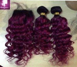 Wholesale Cheap Deep Curl Closure - 1b 99j two tone ombre Malaysian human hair weaving deep curl cheap Malaysian human hair weaving deep wave hair extensions with closure