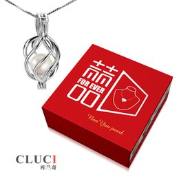 Wholesale Pearl Twisted Necklace - Gift Box 6-7mm Round Akoya Cultured Pearl in Oyster with 925 Silver Twist Locket Pendant