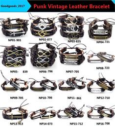 Canada En gros Bijoux De Mode ancre Alliage En Cuir Bracelet Hommes Casual personnalité PU Tissé Perlé Bracelet Vintage Punk Bracelet Femmes M0833 Offre