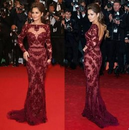 Wholesale celebrity dresses cannes - 2018 Sexy Burgundy Cannes Red Carpet Evening Celebrity Dresses Bateau Beaded Long Sleeves Prom Dresses Formal Women Pageant Dress