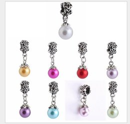 Wholesale natural pink pearl necklace - Fits Pandora Bracelets 30pcs Natural Fresh Pearl Pendant Dangle Charm Bead Loose Beads For Wholesale Diy European Sterling Necklace Women
