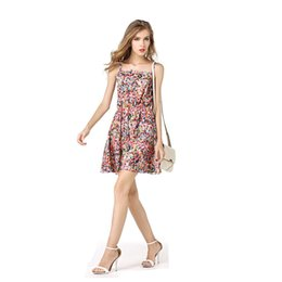 Wholesale Ladies Spaghetti Free Shipping - 2017 Women Sexy Strap Dress Summer Colorful Flower Chiffon Casual Lady Bench Dress Free Shipping