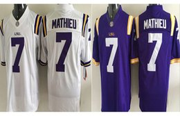 Wholesale Dry Goods - 2017 Top Sale Tigers #7 Tyrann Mathieu Men's White Purple College Football Jerseys Good Quality jerseys Size M-3XL