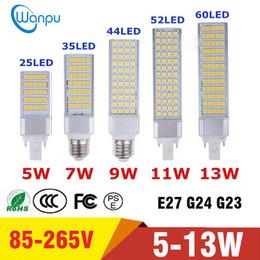 2019 bulbe de maïs g24 Ampoules LED E27 G24 G23 Ampoule LED Maïs Lumière SMD 5050 Projecteur 180 degrés AC85-265V Prise horizontale Lumière promotion bulbe de maïs g24