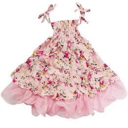 Wholesale Vintage Baby Clothing - Baby Girls Dress Brand Summer Beach Style Floral Print Party Dresses For Girls Vintage Toddler Girl Clothing free shipping