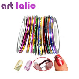 Wholesale Metallic Nails Stickers - Wholesale-Free Shipping 2016 New 32 Colors Roll Striping Tape Line Metallic Yarn Nail Art Tips Decoration Nail Stickers
