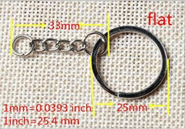 Wholesale Keychain Split Rings Chain - Wholesale Metal Split Keychain Ring Parts - 100 Key Chains With 25mm Open Jump Ring and Connector